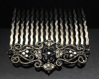 Art Deco Black Crystal Hair Comb Clip Pin Silver Antique Formal Wedding Gray