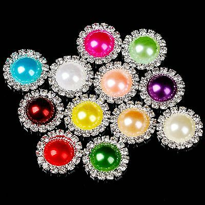 50PCS Wedding DIY Crystal Diamante Cluster Embellishment Rhinestone Pearl Button