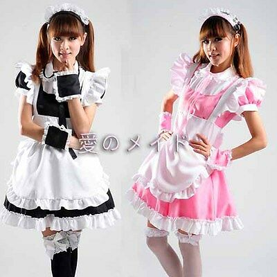 5pcs Sexy Lolita French Maid Outfit Dress Cosplay Party Set apron role Costume