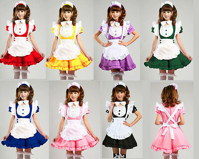 Sexy service Lolita French Maid Outfit Dress Cosplay Party Yohko apron Costume