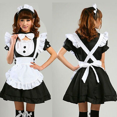Sexy Black service Lolita French Maid Outfit Dress Cosplay Party apron Costume