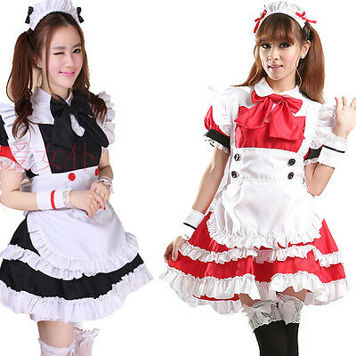 6pcs Sexy Bow Lolita French Maid Outfit Dress Cosplay Party Set apron Costume