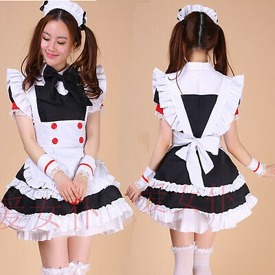 Black Sexy Bow Lolita French Maid Outfit Dress Cosplay Party Set apron Costume