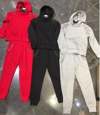 Girls New 2 Pcs Stud Design Tracksuit Hoodie Jacket Outfit Clothing Jog Suit Set