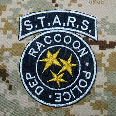 Resident Evil Umbrella STARS Reccoon Embroidery Patch Blue Background