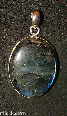 Large Sterling Silver Labradorite Gemstone Pendant Crystal Jewellery No.2036