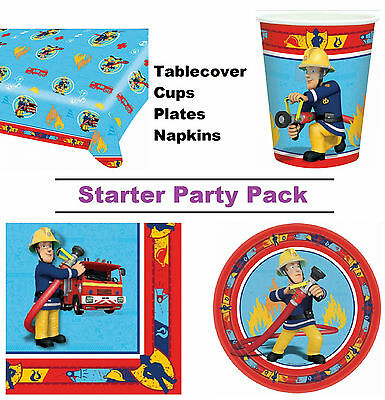 Fireman Sam 8-48 Guest Starter Party Pack - Cups, Plates, Napkins, Tablecover