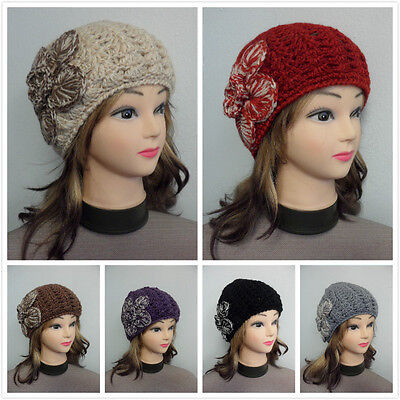 Women's Girls Winter Warm Knit Beanie Hat With Crochet Flower Double Layer