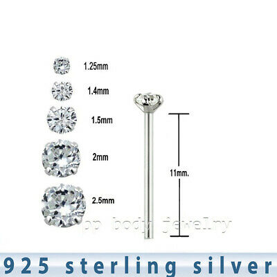 925 Sterling Silver Prong Set CZ L-Shape Nose Stud 22g 1.25mm to 2.5mm C.Z. 2pc