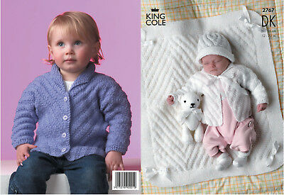 King Cole Double Knitting DK Pattern Baby Long Sleeved Jacket Hat & Blanket 2767