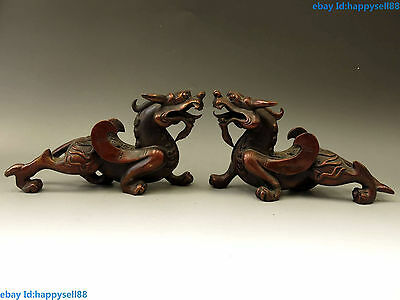 A pair red bronze carved fine feng shui lucky Foo Dogs Lions kylin Statue