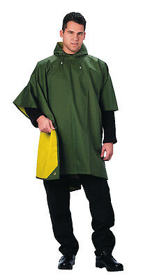 Reversible Mens Olive Drab Green Yellow 3/4 Rubber Rain Coat Poncho with Hood