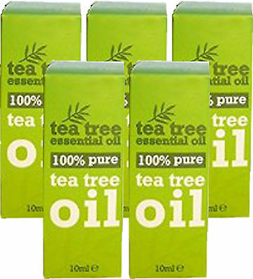 100 % Pure Tea Tree Essential Oil 10ml x5 FIVE PACK- Melaleuca Alternifolia