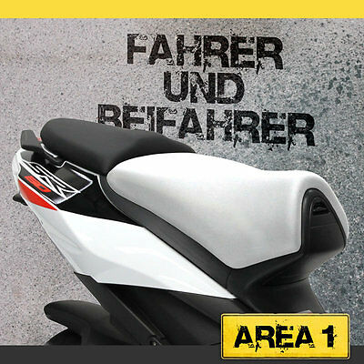 Aprilia SR 50 R / FACTORY Seat Cover Set - white / Black