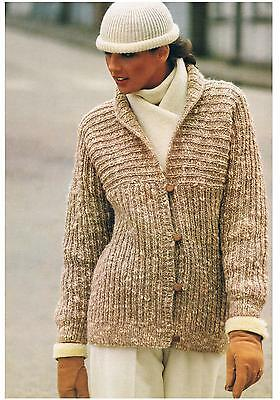 """Knitting Pattern Ladies Easy to Knit Jacket Vintage PATTERN ONLY Chunky 32-38"""""""