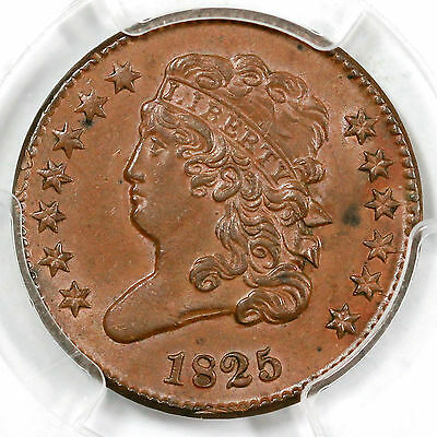 1825 c-2 PCGS MS62 BN Classic Head Half Cent Coin 1/2c