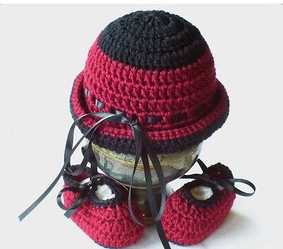 Crochet 0-3 Months Burgundy and Black Hat and Booties Set Photo Prop Mary Joe