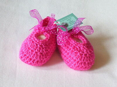 0-3 Months Hand Crocheted Baby Girl Booties Watermelon Color Mary Joe Style