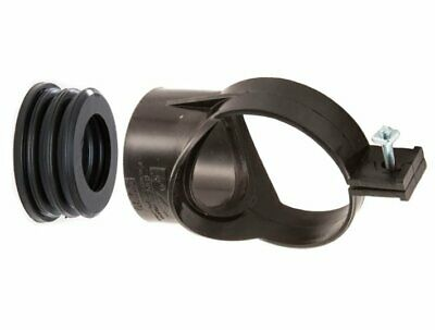 """3"""" / 82mm Soil Strap on Boss to 40mm Waste Pipe Black Front Fix Bolt Type SG30"""