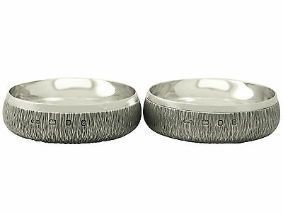 Pair of Sterling Silver Coasters by A G Benney - Vintage Elizabeth II