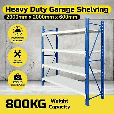 2M Steel Garage Warehouse Rack Storage Shelves Shelving Work Bench 800KG3-2020BG