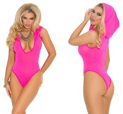 Hooded Teddy Bodysuit Sleeveless Thong Back  Deep V Neck Lingerie Opaque 1576