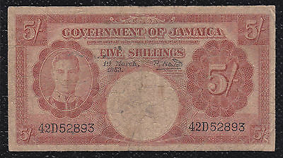 5 SHILLINGS FROM JAMAICA 1953