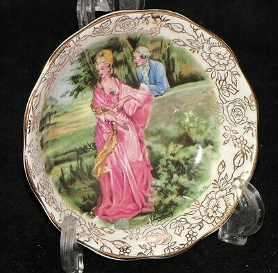 "Lovely, Luxurious Vintage James Kent ""Romance"" Pin Dish Gold Trim"