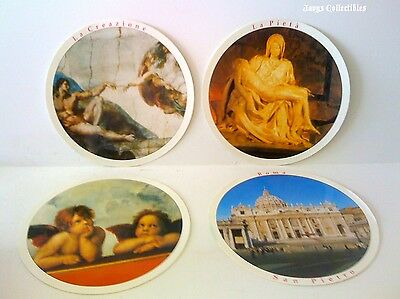 Set Of 4 Rome Italy Rounded Post Cards Travel Souvenirs