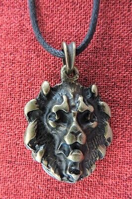 Lion Head Pendant Medieval King Richard Knight Amulet Thrones SCA Brass Necklace