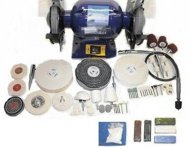 370w Bench Mounted Metal Polishing Kit c/w Flexible Drive Shaft and Accessories