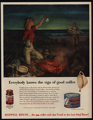 1951 Man & Woman On Beach Drink MAXWELL HOUSE Coffee - Firewood - VINTAGE AD
