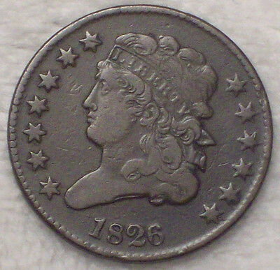 1826 Classic HALF CENT VF Detailing *RARE NEVER CLEANED Beautiful Brown Tone C-1