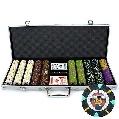 New 500 Rock & Roll 13.5g Clay Poker Chips Set with Aluminum Case - Pick Chips!