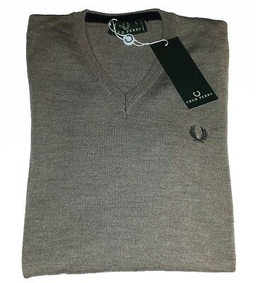 Fred Perry Scollo Merinos Wool Sweaters Men (30302230) Authentic Size L New
