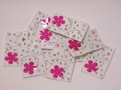 10 x Embroidered Baby Girl Pink Star Card Gift Arts Crafts Making Motifs #4B118