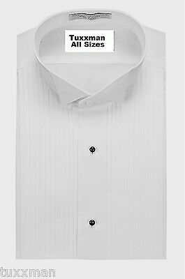 New Mens White Tuxedo Shirt Pleated Wing butterfly Tux collar.Quality All sizes