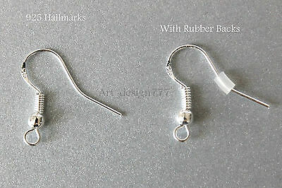 50pcs 925 Sterling Silver Earring Fish Hooks Ear wires Findings With Ball