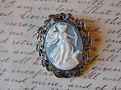 #JR111 wedding Artemis blue Cameo BROOCH necklace Greek LOVE Goddess JEWELRY