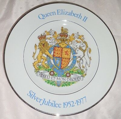 QUEEN ELIZABETH II SILVER JUBILEE 10-INCH  CHINA PLATE  WOOD & SONS ENGLAND