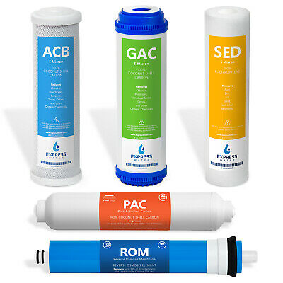 Replacement Filter Set for Standard 5 Stage Reverse Osmosis Water System 100 GPD