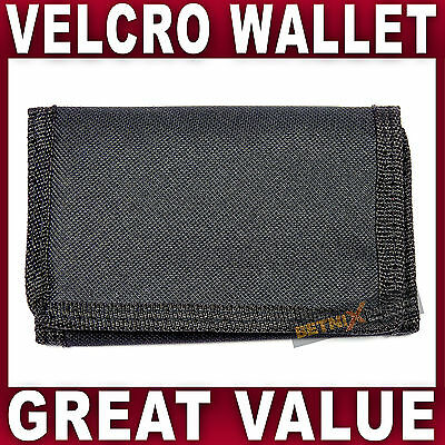 Black Canvas Wallet Men Boys card coin sports trifold NEW