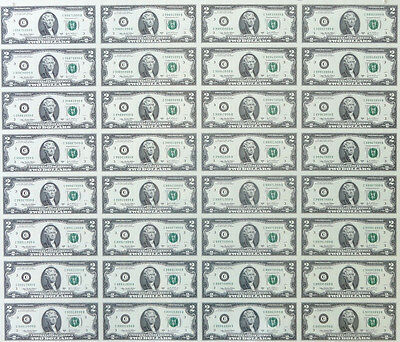 2009 $2 UNCUT SHEET 32 Subject TWO DOLLAR BILLS UNITED STATES CURRENCY MONEY NEW