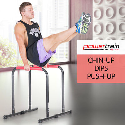 Pair Dip Bar Parallette Stand Station Chin Up Push Pull Machine tower Fitness