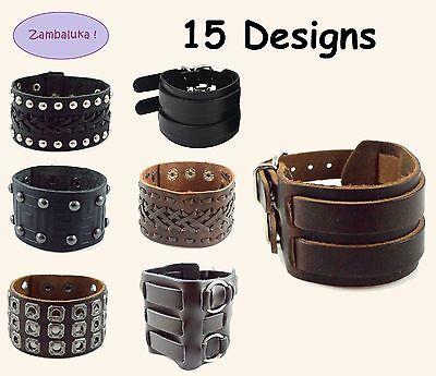 15 Designs Mens Womens Brown, Black Real Leather Surfer Bracelet Wristband Cuff
