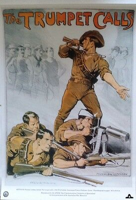 """WW1 Recruiting Poster """" THE TRUMPET CALLS"""" A3"""