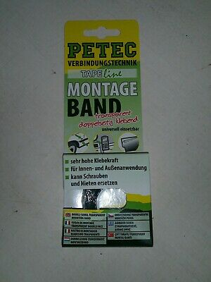 Petec Montageband Montage Band 2m x 19mm transparent