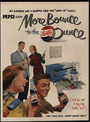 1951 PEPSI Cola - More Bounce To The Ounce - Bottles - Painting -  VINTAGE AD