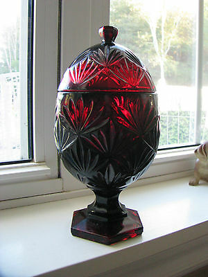 Glass Egg Candy Dish Ruby Red Crystal Cristal D'Arques Duran EUC