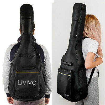 Livivo Black Padded Guitar Carry Bag Case Acoustic Classical Cover Full Size